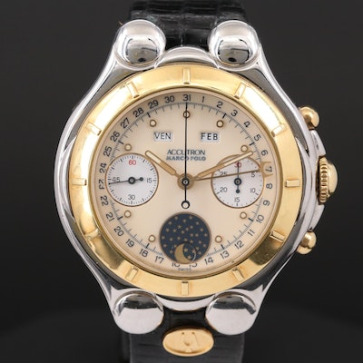 Bulova Accutron 18K Gold and Stainless Steel Triple Calendar Chronograph Watch