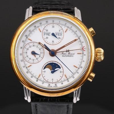 Jean Marcel Two Tone Automatic Triple Calendar Chronograph Wristwatch