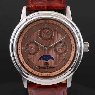 Daniel Chiriac Arogonaut Moonphase Triple Calendar Stainless Steel Wristwatch