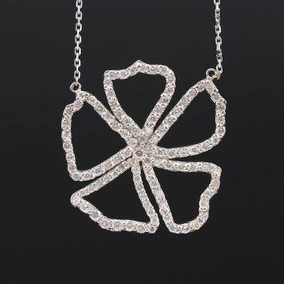14K White Gold 1.32 CTW Diamond Flower Pendant Necklace