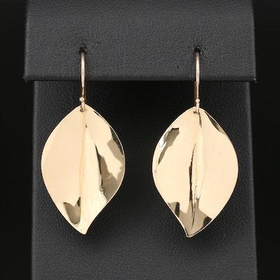 14K Yellow Gold Leaf Motif Dangle Earrings