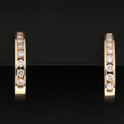 14K Yellow Gold Diamond J Hoop Earrings