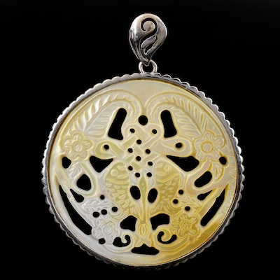 Sterling Silver Mother Of Pearl Carved Pendant