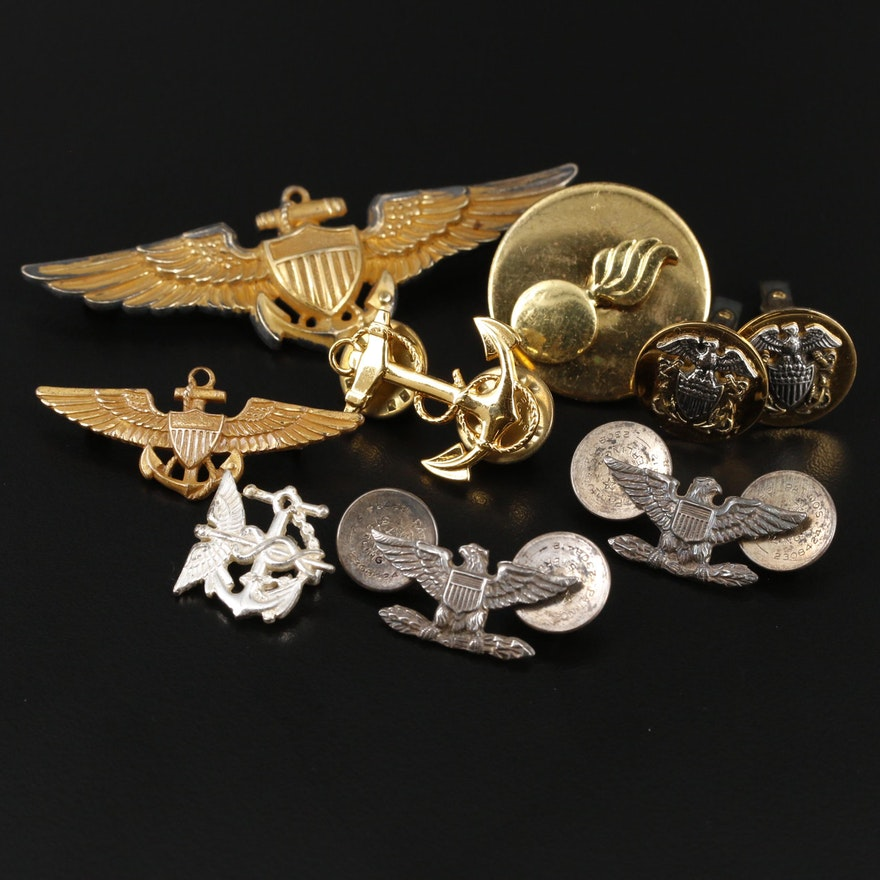 Vintage Military Themed Pins and Cufflinks Including Sterling Silver