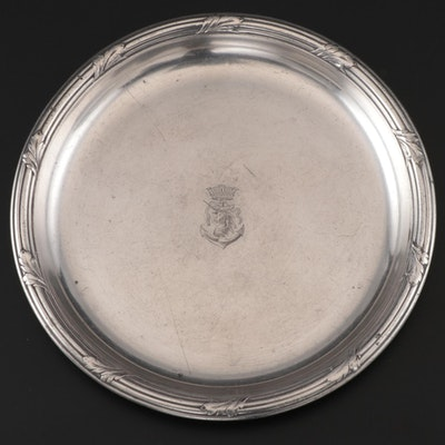 Christofle Silver Plate Wine Bottle Coaster with Heraldic Engraving