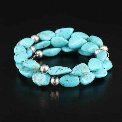 Desert Rose Trading Southwestern Sterling Turquoise Wrap Bracelet