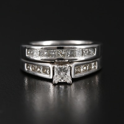 14K White Gold Diamond Ring and Diamond Band