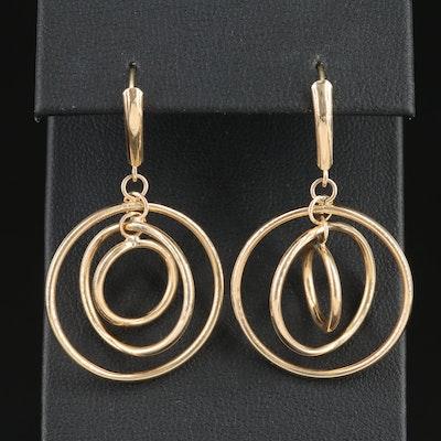 14K Yellow Gold Triple Circle Dangle Earrings