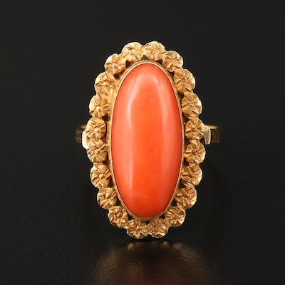 14K and 18K Yellow Gold Coral Ring