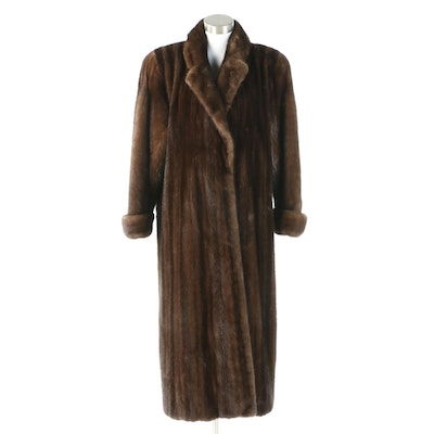 Brown Mink Fur Coat with Notched Collar and Turn Back Cuffs from Neustadter Furs