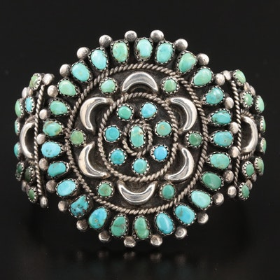 Southwestern Sterling Silver Turquoise Petit Point Cuff Bracelet