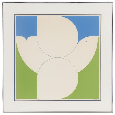 "E. Gibbs Serigraph of Stylized Dove ""Peace"""