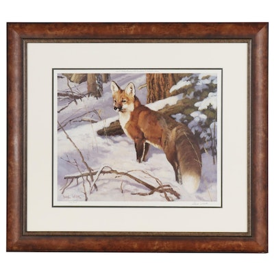 Dave Wade Offset Lithograph of Fox in Winter