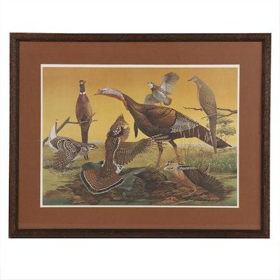 "Ray Harm Offset Lithgoraph ""Upland Birds"", 1967"