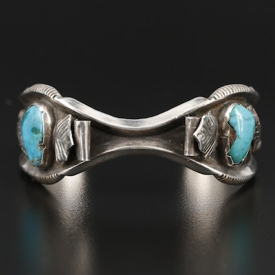 Louise Platero Navajo Diné Sterling Turquoise Shadowbox Watch Cuff Bracelet