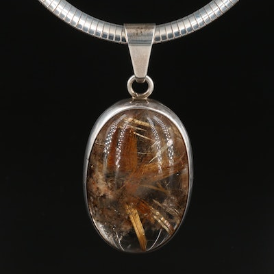 Sterling Silver Rutilated Quartz Pendant on Omega Chain Necklace