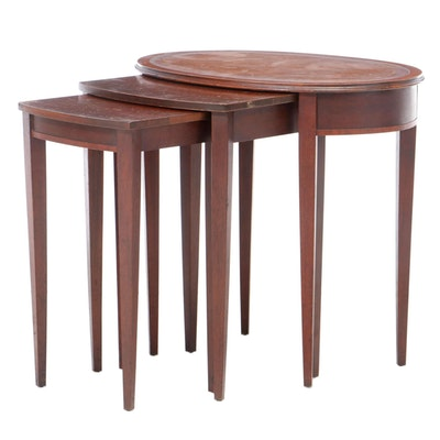 Hepplewhite Style Mahogany Nested Tables, Mid 20th Century