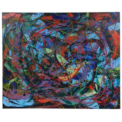 "Farnoosh Lanjani Acrylic Painting ""Tribute to Jackson Pollock,"" 2020"