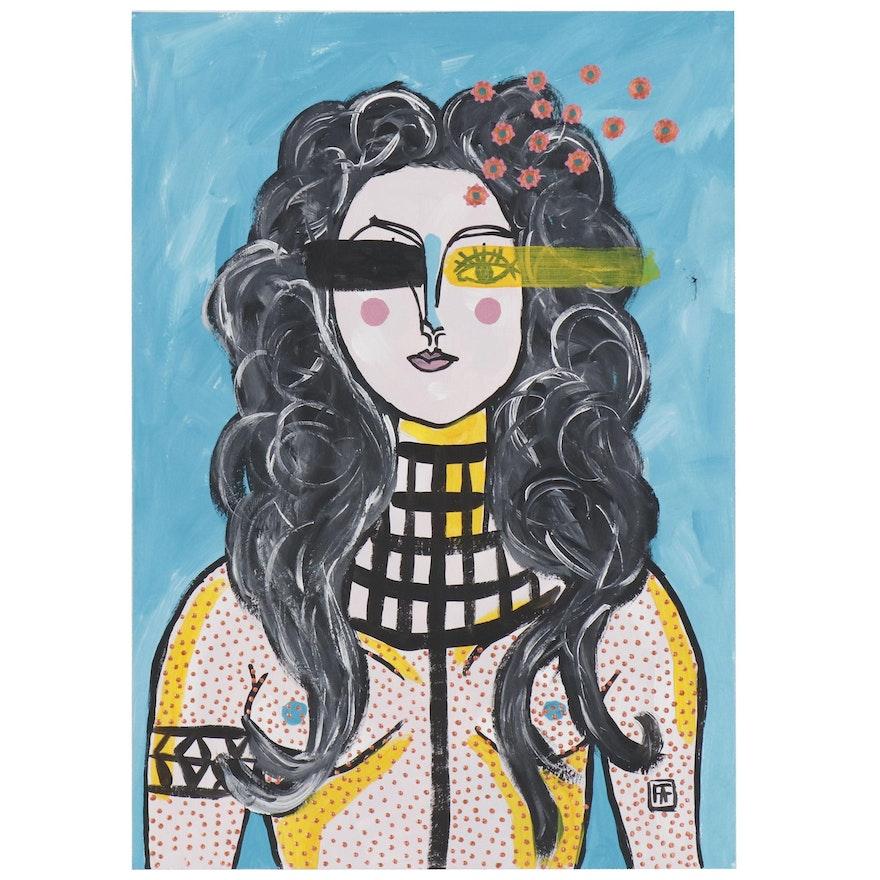 """Francois Aguiard Acrylic Painting """"Francoise Gilot"""", 2019"""