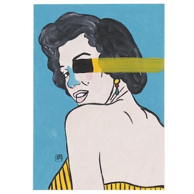 "Francois Aquiard Acrylic Painting ""Marilyn Monroe"", 2019"