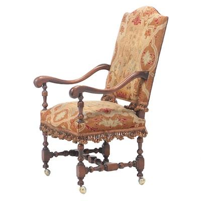 Renaissance Revival Mahogany and Petit-Point Armchair, Early 20th Century