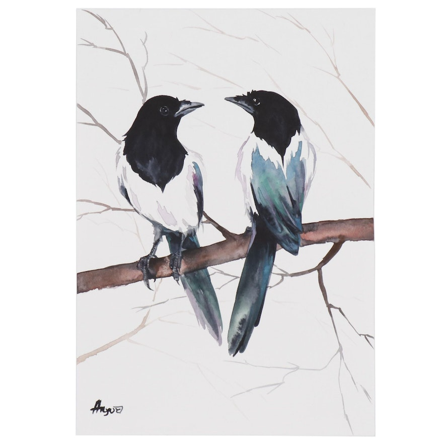 Anne Gorywine Watercolor Painting of Pied Crows