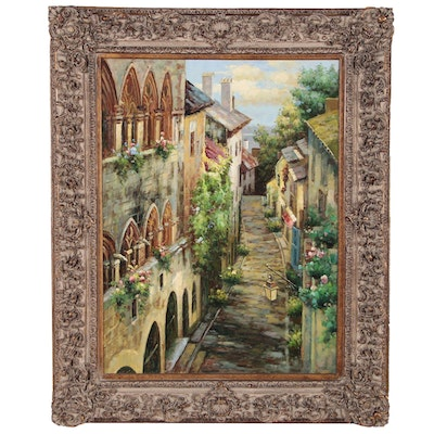 Monumental Oil Painting of a European Village