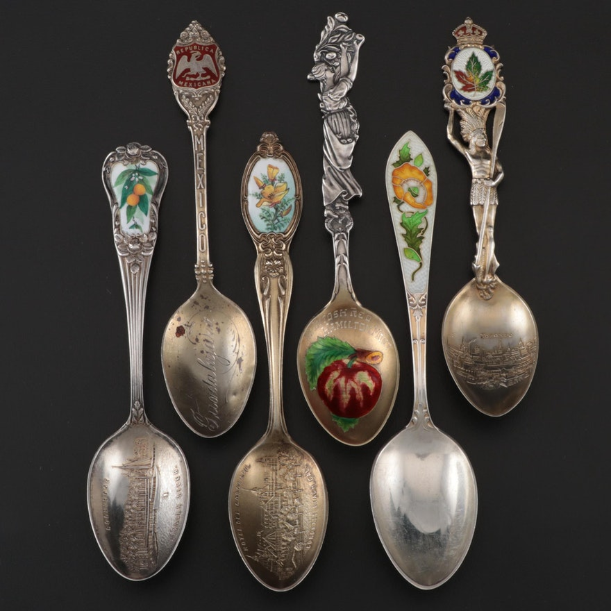 Enameled Sterling Souvenir Spoon Including Watson and Joseph Mayer & Brothers