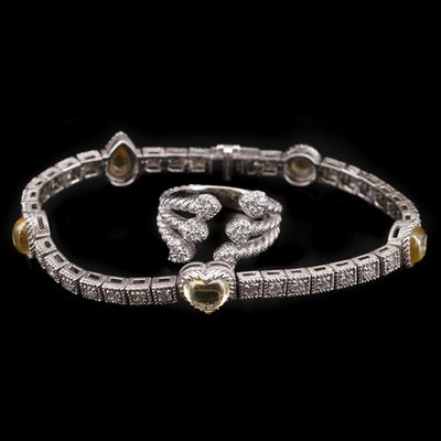Judith Ripka Sterling Silver Cubic Zirconia and Citrine Heart Bracelet and Ring