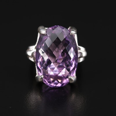 Sterling Silver 26.53 CT Amethyst Ring