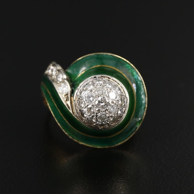 18K Yellow Gold Diamond and Enamel Ring