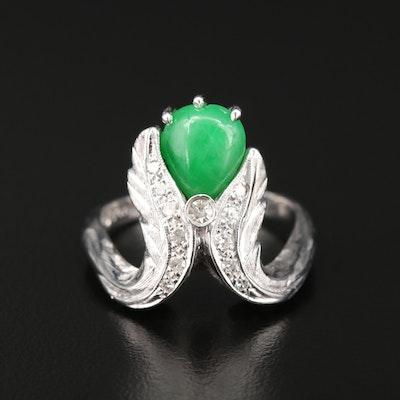 14K White Gold Jadeite and Diamond Leaf Motif Ring