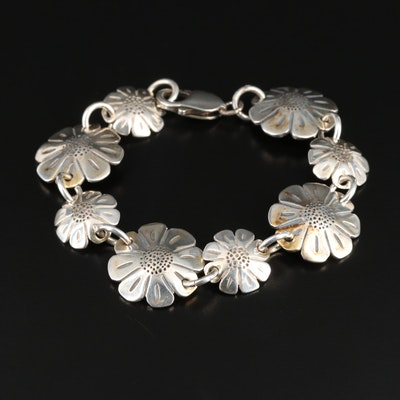Signed Southwestern Style Flower Motif Bracelet