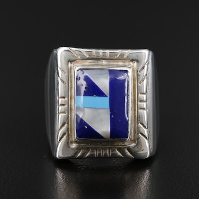 Ted Ott Southwestern Style Sterling Inlaid Gemstone Ring