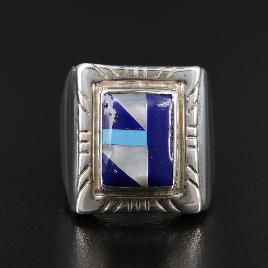 Ted Ott Southwestern Style Sterling Inlaid Gemstone Ring