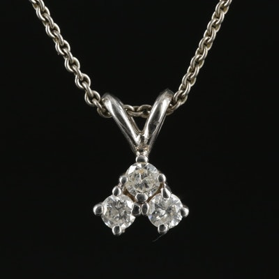 Sterling Silver Necklace with 14K White Gold Diamond Pendant