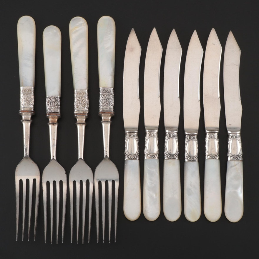 Forks and Fruit Knives with Sterling Ferrules and Mother of Pearl Handles