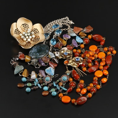 Assorted Gemstone Jewelry Featuring Vendome and Sterling Silver Harry Iskin