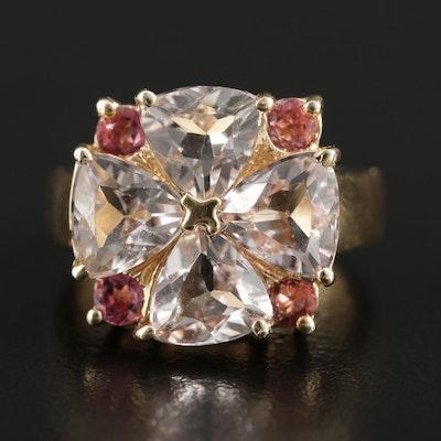 14K Yellow Gold Morganite and Pink Tourmaline Ring