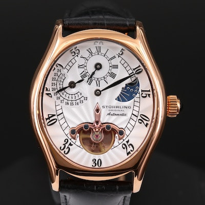 Stuhrling Adamas Automatic Regulator Rose Gold Tone Wristwatch