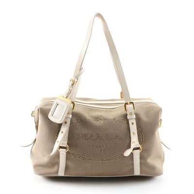 Prada Canapa Canvas Satchel with Vitello Daino Leather Trim