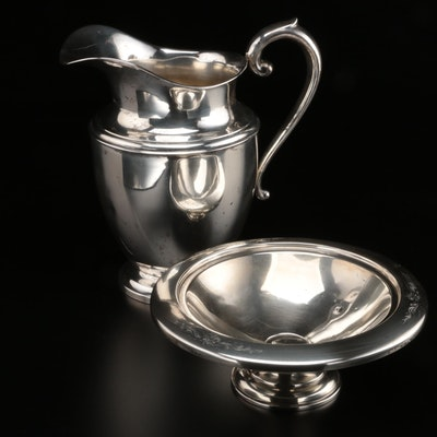 Preisner Silver Co. Sterling Water Pitcher with Otto Reichardt Sterling Compote