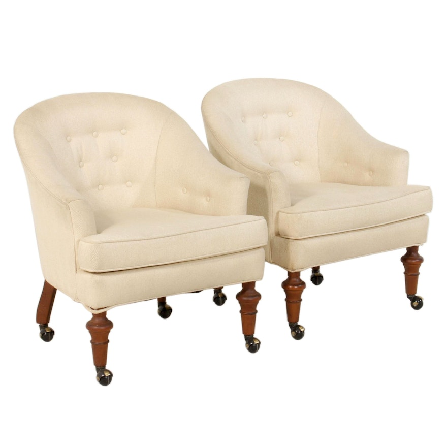 Pair of Raw Silk Upholstered Barrel Back Armchairs, Late 20th Century
