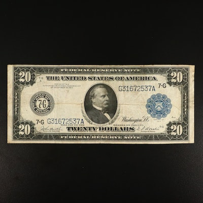 Series of 1914 Twenty Dollar Federal Reserve Burke/Houston Large Currency Note
