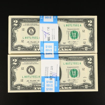 One-Hundred Consecutive Serial Numbered 2013 $2 Federal Reserve Currency Notes