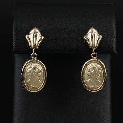 14K Yellow Gold Figural Drop Earrings
