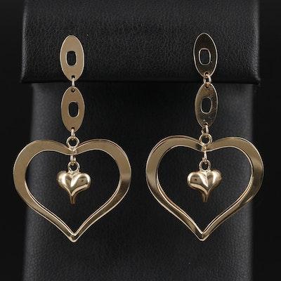14K Yellow Gold Double Heart Drop Earrings