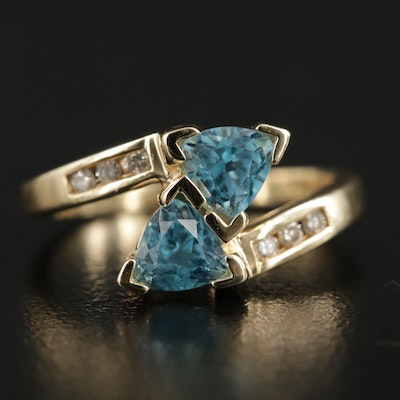 10K Yellow Gold Blue Topaz and Diamond Bypass Ring
