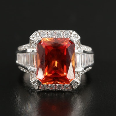 Sterling Silver Synthetic Corundum and Cubic Zirconia Ring