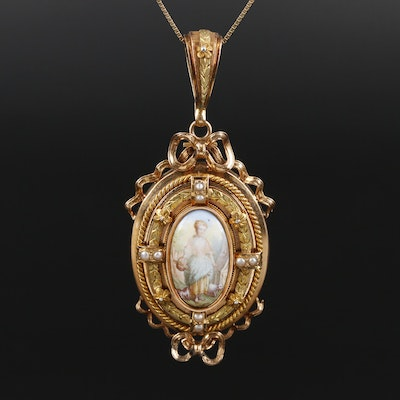 Victorian 18K Mother of Pearl and Pearl Pendant on 14K Box Link Chain